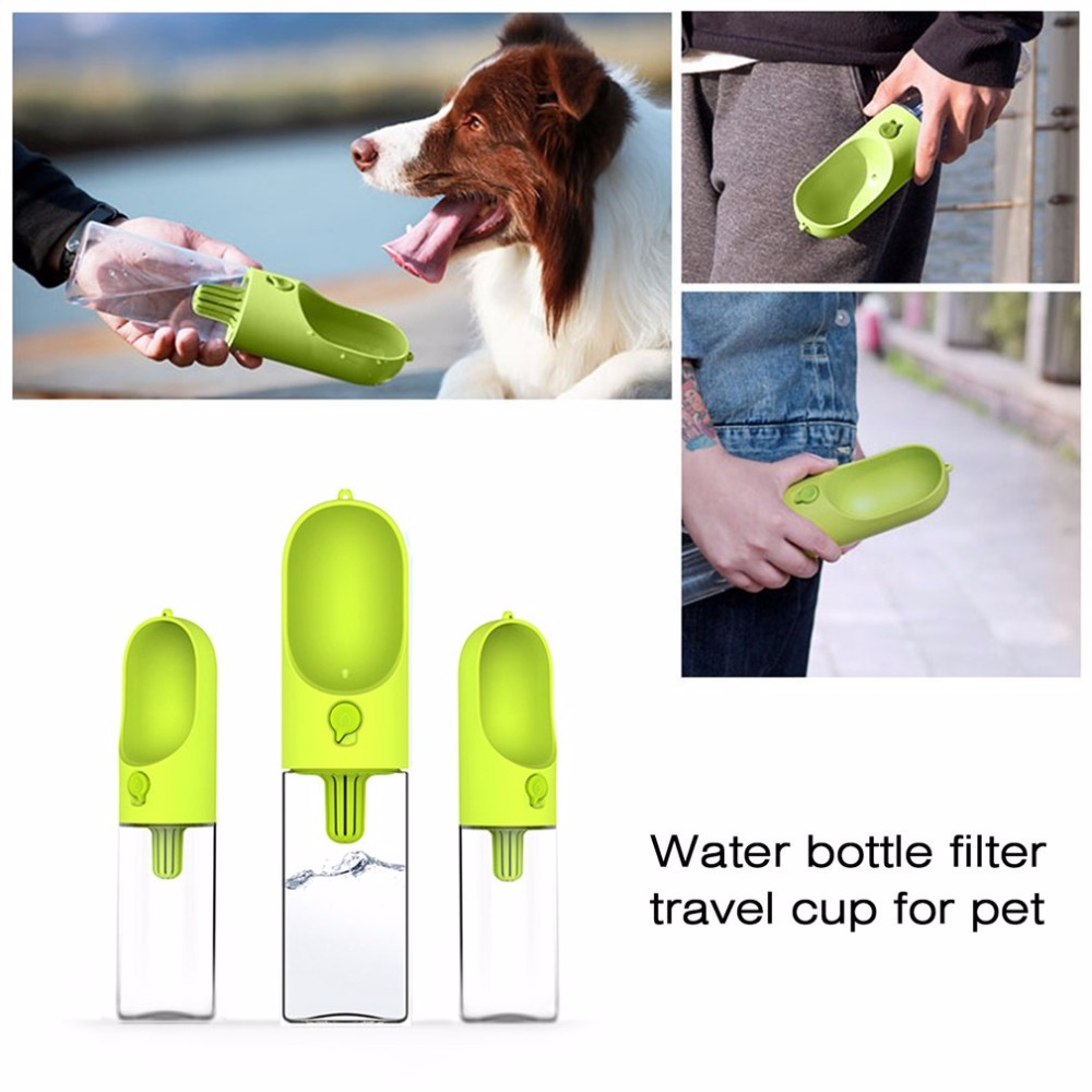 Portable Pet Dog Cat Travel Drinking Water Bowl Bottle: Dog Filter Water Bottle